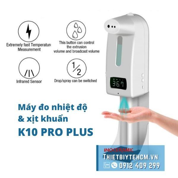 Máy đo nhiệt độ và khử trùng tay K10 Pro Plus (tặng kèm giá đỡ)