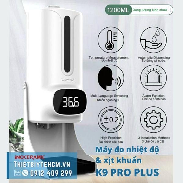 Máy đo nhiệt độ và khử trùng tay K9 Pro Plus (tặng kèm giá đỡ)