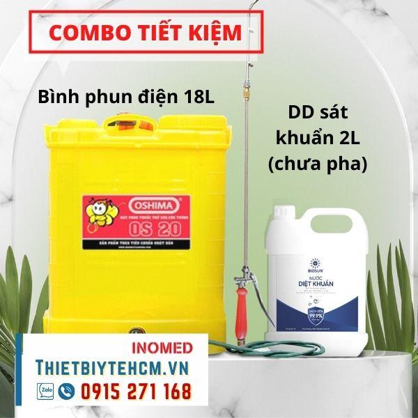 [Combo] Máy phun khử khuẩn điện OS 18L và dung dịch sát khuẩn 2L đậm đặc