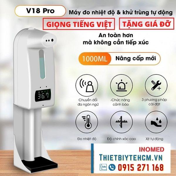 [MỚI] Máy đo nhiệt và khử khuẩn tự động V18 Pro Giọng Tiếng Việt