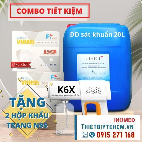 [Tặng 2 hộp khẩu trang N95] Súng phun khử khuẩn K6X và nước sát khuẩn 20L